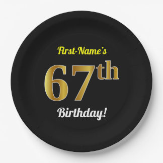 Black, Faux Gold 67th Birthday + Custom Name Paper Plate