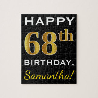 Black, Faux Gold 68th Birthday + Custom Name Jigsaw Puzzle