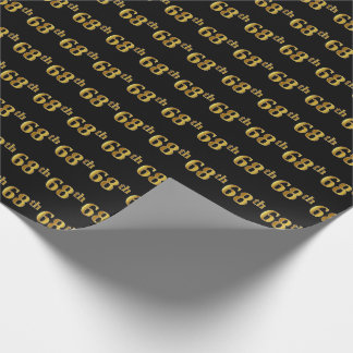 Black, Faux Gold 68th (Sixty-Eighth) Event Wrapping Paper