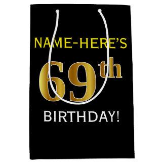 Black, Faux Gold 69th Birthday + Custom Name Medium Gift Bag