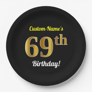 Black, Faux Gold 69th Birthday + Custom Name Paper Plate