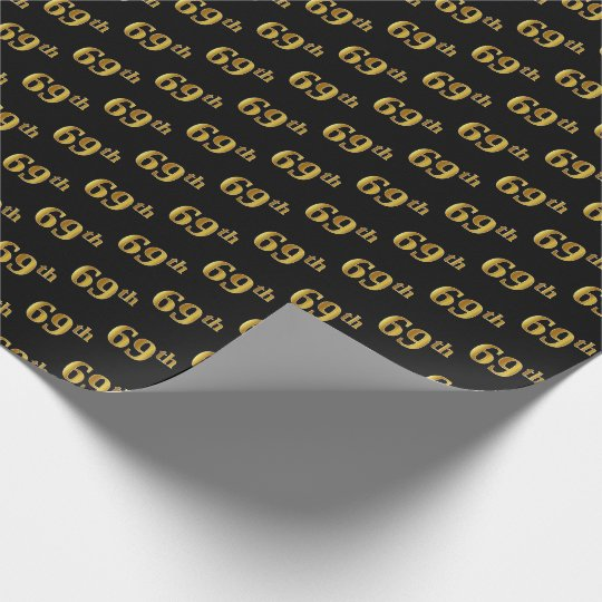 Black, Faux Gold 69th (Sixty-Ninth) Event Wrapping Paper