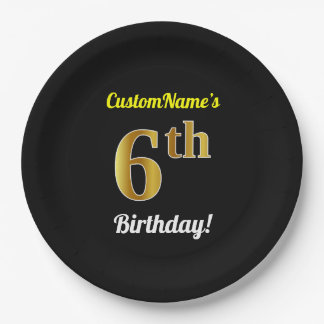 Black, Faux Gold 6th Birthday + Custom Name Paper Plate