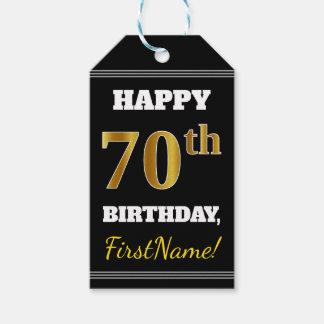 Black, Faux Gold 70th Birthday + Custom Name Gift Tags