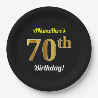 Black, Faux Gold 70th Birthday + Custom Name Paper Plate