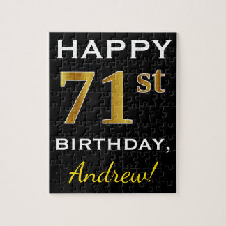 Black, Faux Gold 71st Birthday + Custom Name Jigsaw Puzzle