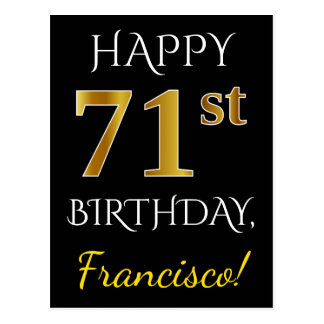 Black, Faux Gold 71st Birthday + Custom Name Postcard