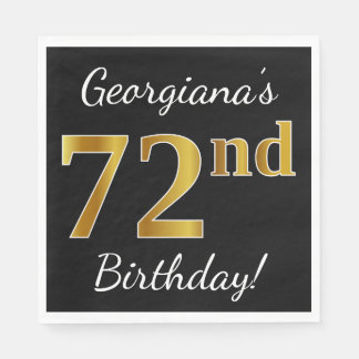 Black, Faux Gold 72nd Birthday + Custom Name Disposable Napkins