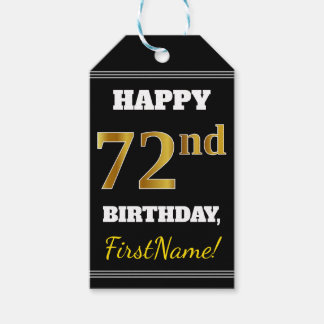 Black, Faux Gold 72nd Birthday + Custom Name Gift Tags