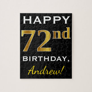 Black, Faux Gold 72nd Birthday + Custom Name Jigsaw Puzzle