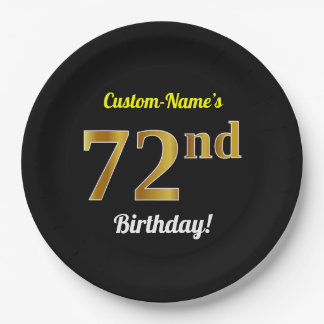Black, Faux Gold 72nd Birthday + Custom Name Paper Plate