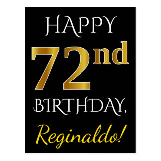 Black, Faux Gold 72nd Birthday + Custom Name Postcard