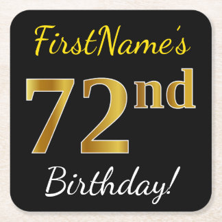 Black, Faux Gold 72nd Birthday + Custom Name Square Paper Coaster