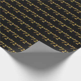Black, Faux Gold 72nd (Seventy-Second) Event Wrapping Paper