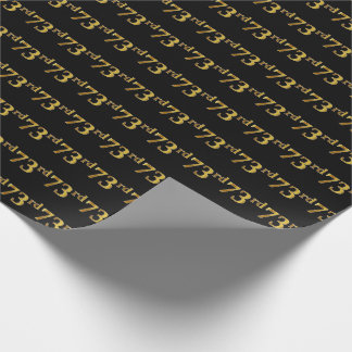 Black, Faux Gold 73rd (Seventy-Third) Event Wrapping Paper