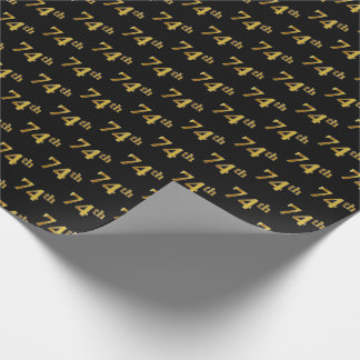 Black, Faux Gold 74th (Seventy-Fourth) Event Wrapping Paper