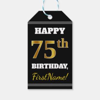 Black, Faux Gold 75th Birthday + Custom Name Gift Tags