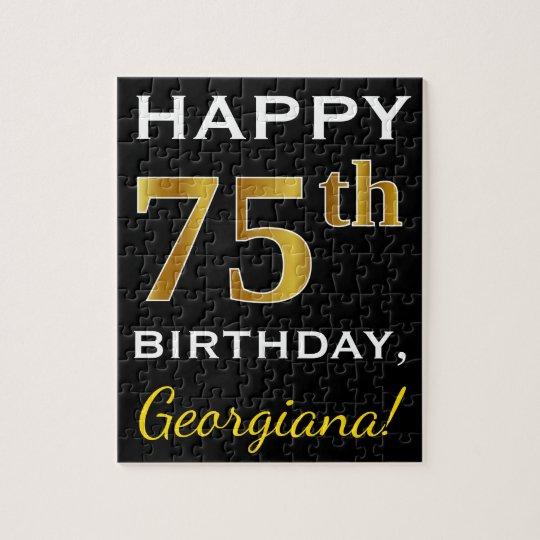 Black, Faux Gold 75th Birthday + Custom Name Jigsaw Puzzle