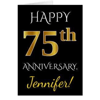 Black, Faux Gold 75th Wedding Anniversary + Name Card