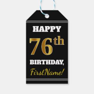 Black, Faux Gold 76th Birthday + Custom Name Gift Tags