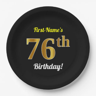 Black, Faux Gold 76th Birthday + Custom Name Paper Plate