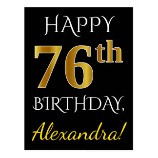 Black, Faux Gold 76th Birthday + Custom Name Postcard