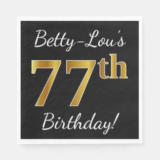 Black, Faux Gold 77th Birthday + Custom Name Disposable Napkins