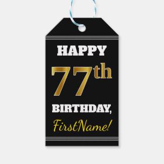 Black, Faux Gold 77th Birthday + Custom Name Gift Tags