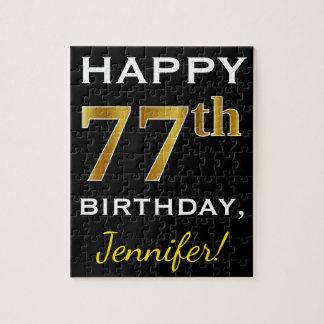 Black, Faux Gold 77th Birthday + Custom Name Jigsaw Puzzle