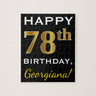Black, Faux Gold 78th Birthday + Custom Name Jigsaw Puzzle