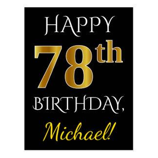 Black, Faux Gold 78th Birthday + Custom Name Postcard
