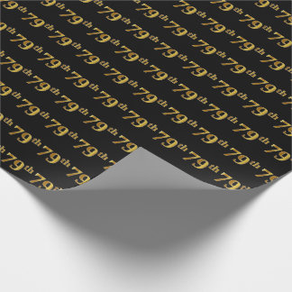 Black, Faux Gold 79th (Seventy-Ninth) Event Wrapping Paper