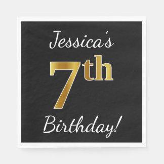 Black, Faux Gold 7th Birthday + Custom Name Paper Napkins