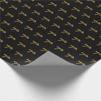 Black, Faux Gold 7th (Seventh) Event Wrapping Paper