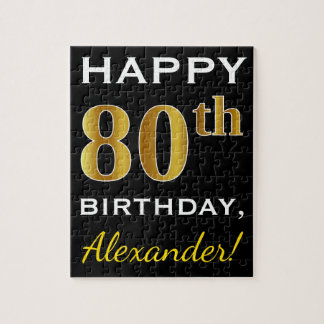 Black, Faux Gold 80th Birthday + Custom Name Jigsaw Puzzle