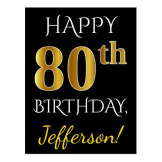 Black, Faux Gold 80th Birthday + Custom Name Postcard