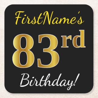 Black, Faux Gold 83rd Birthday + Custom Name Square Paper Coaster