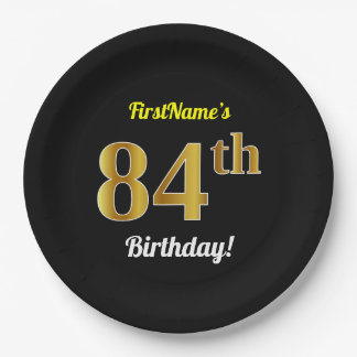 Black, Faux Gold 84th Birthday + Custom Name Paper Plate