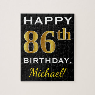 Black, Faux Gold 86th Birthday + Custom Name Jigsaw Puzzle