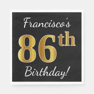 Black, Faux Gold 86th Birthday + Custom Name Paper Napkin