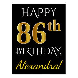 Black, Faux Gold 86th Birthday + Custom Name Postcard