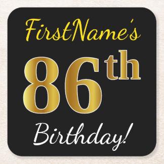 Black, Faux Gold 86th Birthday + Custom Name Square Paper Coaster