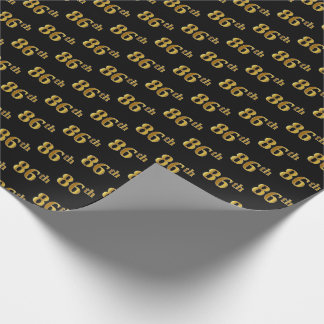 Black, Faux Gold 86th (Eighty-Sixth) Event Wrapping Paper