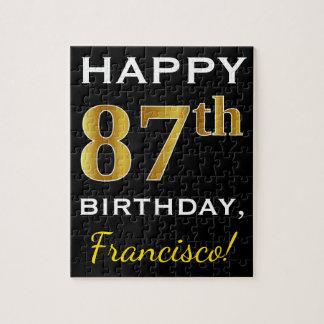 Black, Faux Gold 87th Birthday + Custom Name Jigsaw Puzzle