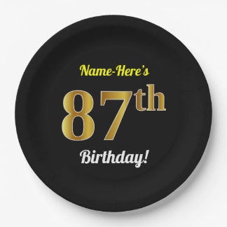 Black, Faux Gold 87th Birthday + Custom Name Paper Plate