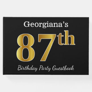 Black, Faux Gold 87th Birthday Party + Custom Name Guest Book