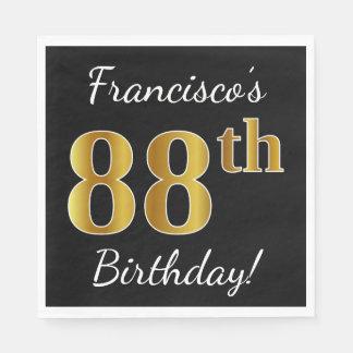 Black, Faux Gold 88th Birthday + Custom Name Paper Napkins