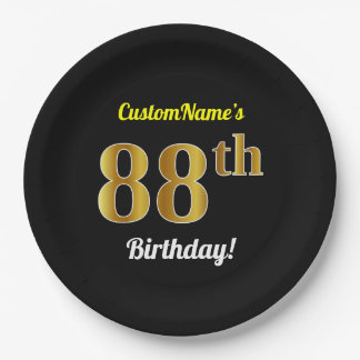 Black, Faux Gold 88th Birthday + Custom Name Paper Plate
