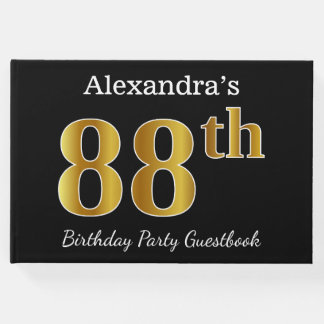 Black, Faux Gold 88th Birthday Party + Custom Name Guest Book