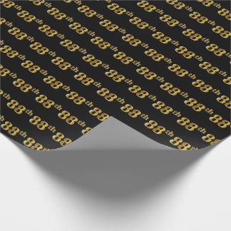 Black, Faux Gold 88th (Eighty-Eighth) Event Wrapping Paper